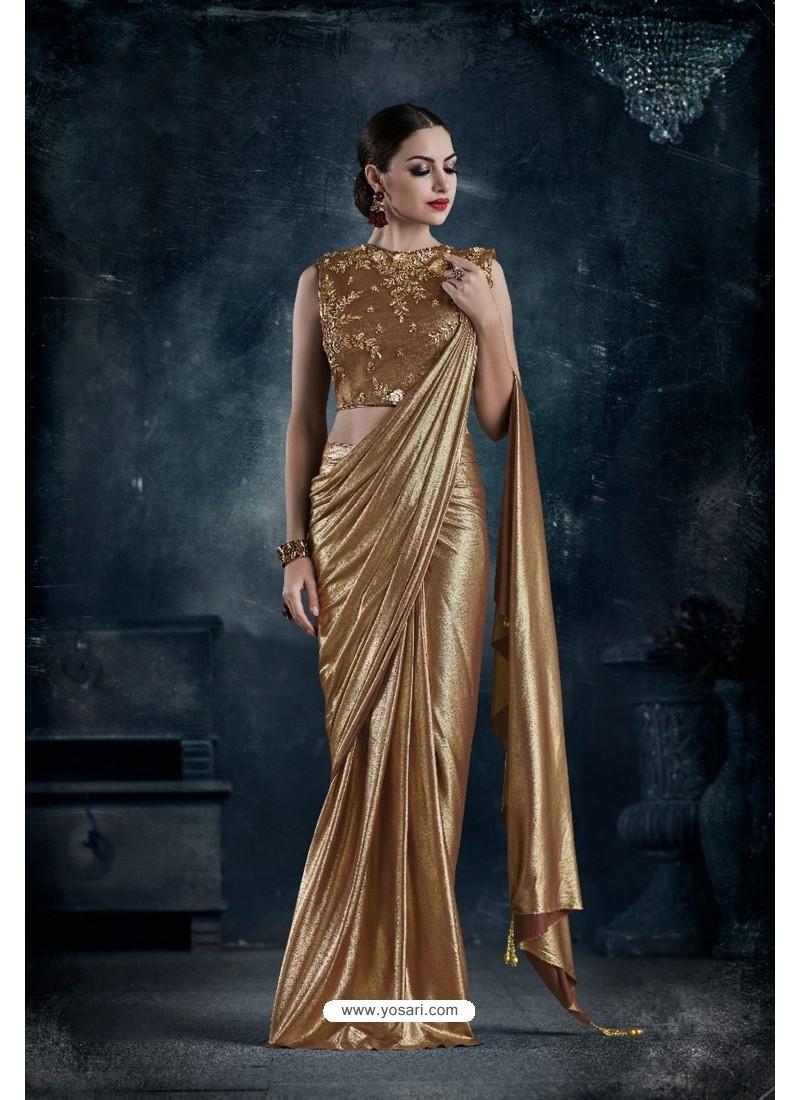 Gold Designer Embroidered Party Wear lycraᅠSari