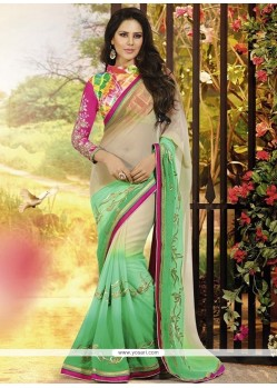 Cream And Green Chiffon Party Wear Saree