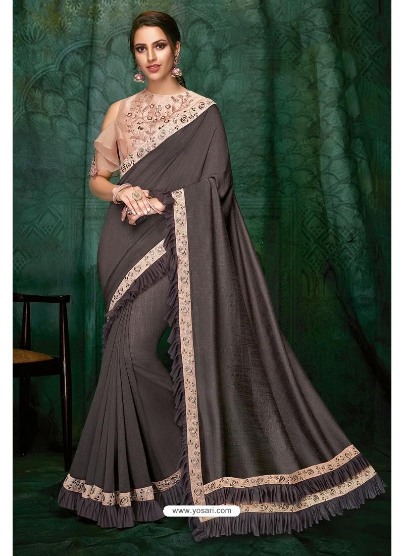 Dull Grey Party Wear Designer Embroidered Sari
