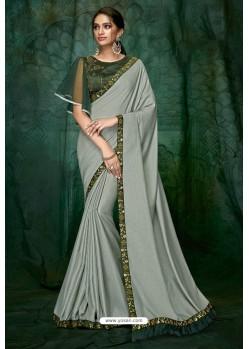 Light Grey Party Wear Designer Embroidered Sari
