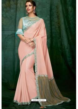 Baby Pink Party Wear Designer Embroidered Sari