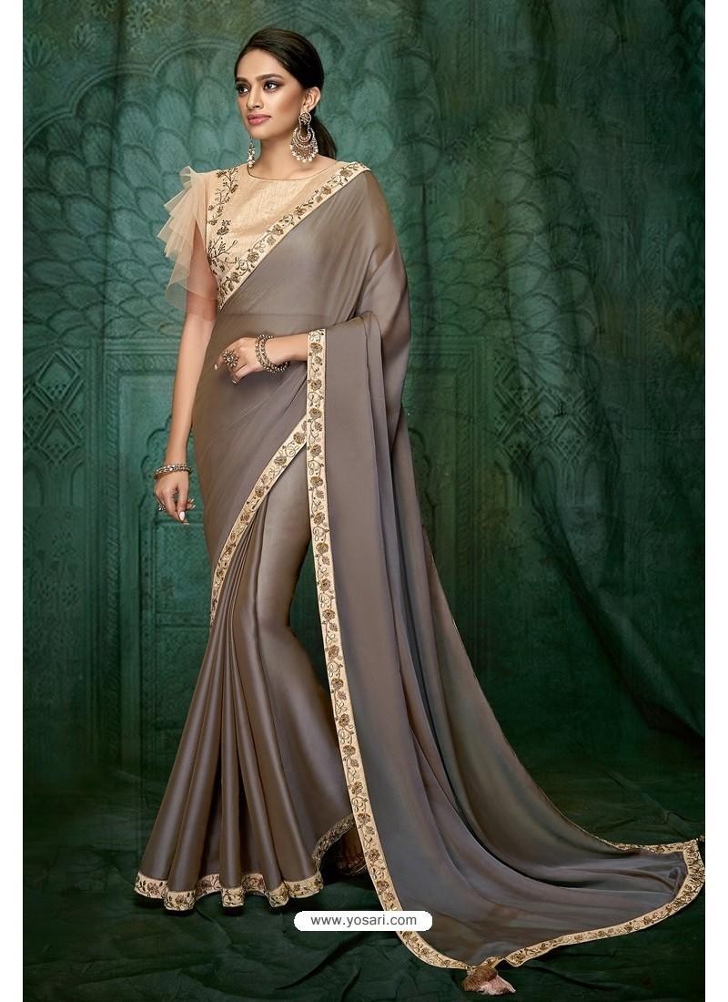 Light Brown Party Wear Designer Embroidered Sari