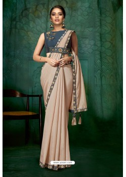 Light Beige Party Wear Designer Embroidered Sari