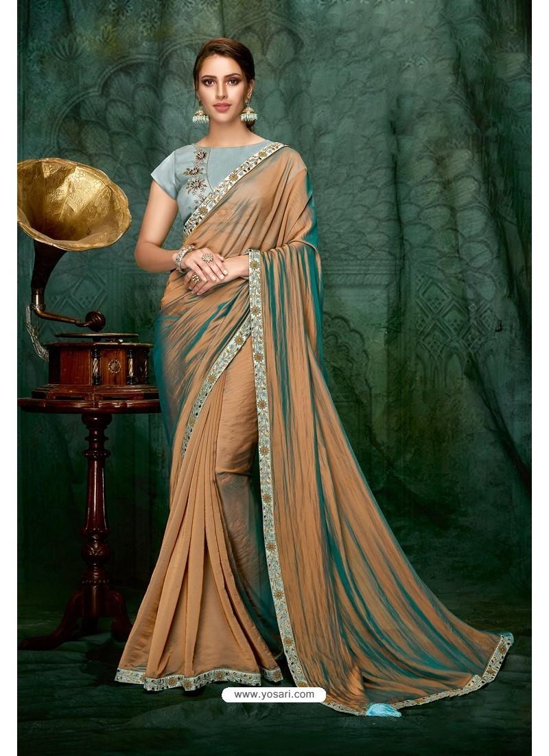 Beige Party Wear Designer Embroidered Sari
