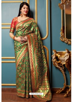 Forest Green Traditional Party Wear Designer Banarasi Silk Sari