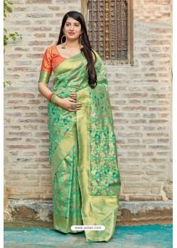 Sea Green Traditional Party Wear Designer Banarasi Silk Sari