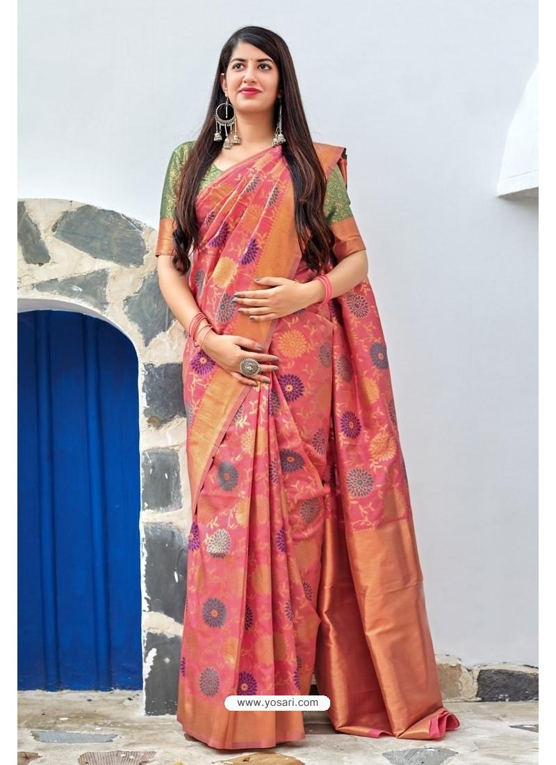 Peach Traditional Party Wear Designer Banarasi Silk Sari