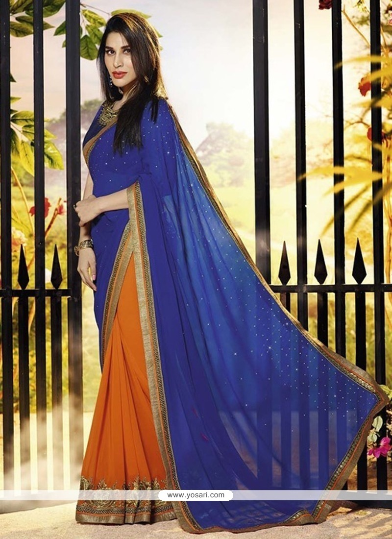 Blue And Orange Georgette Party Wear Saree