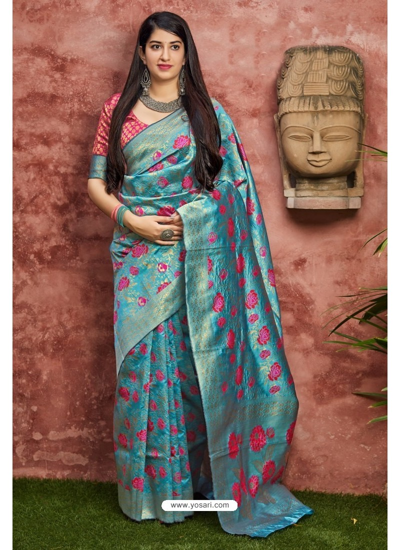 Blue Traditional Party Wear Designer Banarasi Silk Sari