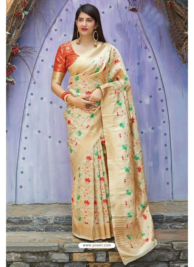 Cream Traditional Party Wear Designer Banarasi Silk Sari