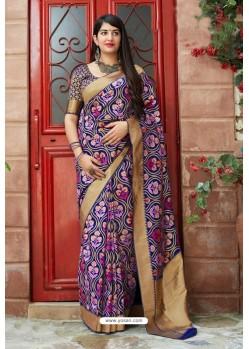 Dark Blue Traditional Party Wear Designer Banarasi Silk Sari