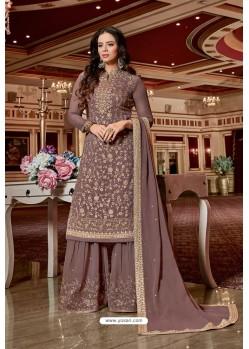 Old Rose Designer Party Wear Jari Embroidered Georgette Palazzo Salwar Suit