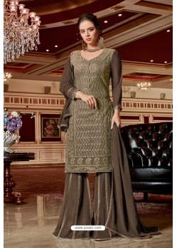 Light Brown Designer Party Wear Jari Embroidered Georgette Palazzo Salwar Suit