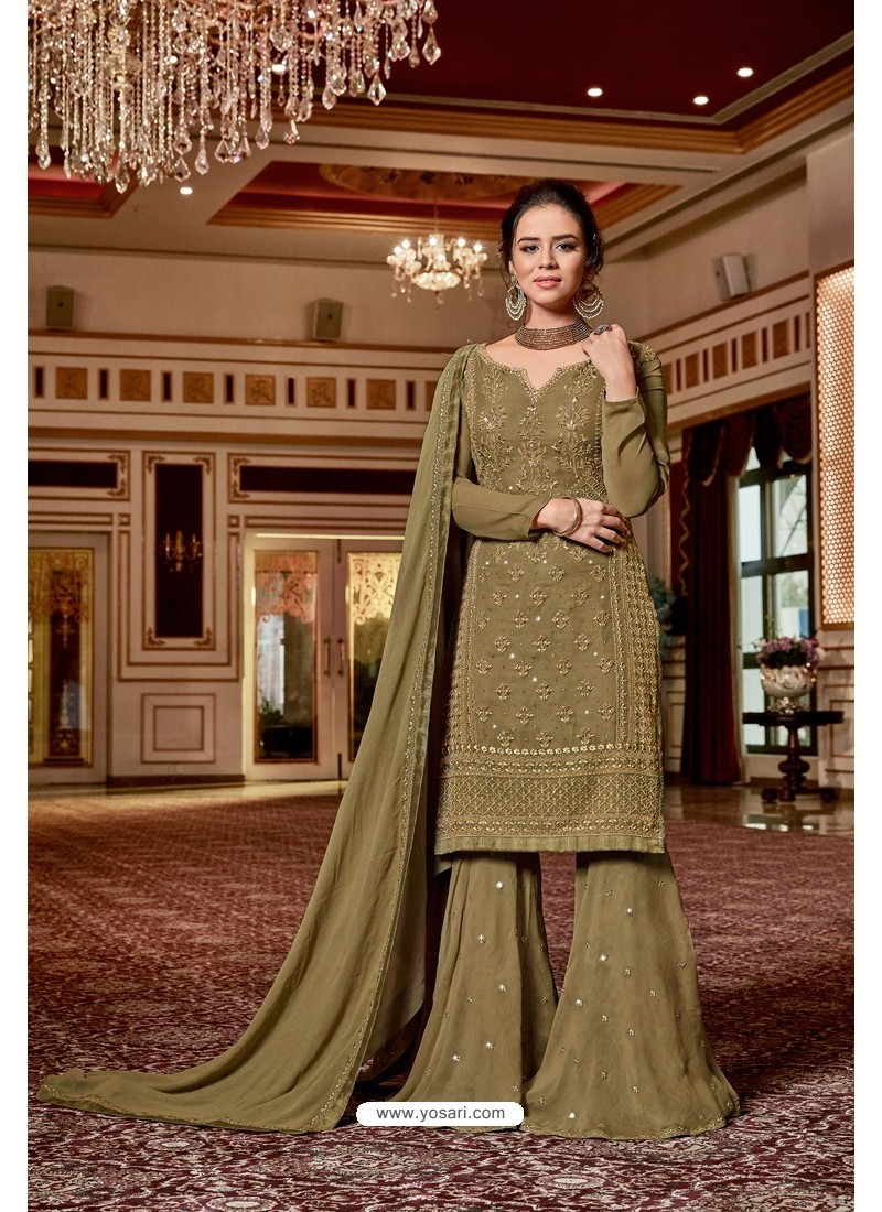 Olive Green Designer Party Wear Jari Embroidered Georgette Palazzo Salwar Suit