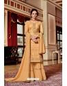 Cream Designer Party Wear Jari Embroidered Georgette Palazzo Salwar Suit