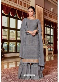 Grey Designer Party Wear Jari Embroidered Georgette Palazzo Salwar Suit