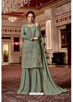 Grayish Green Designer Party Wear Jari Embroidered Georgette Palazzo Salwar Suit