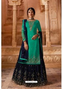 Aqua Mint Designer Party Wear Satin Georgette Palazzo Salwar Suit