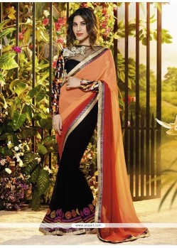 Black And Red Georgette Designer Saree