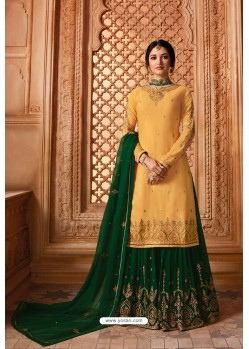 Mustard Designer Party Wear Satin Georgette Palazzo Salwar Suit