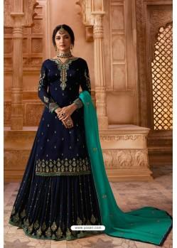 Navy Blue Designer Party Wear Satin Georgette Palazzo Salwar Suit