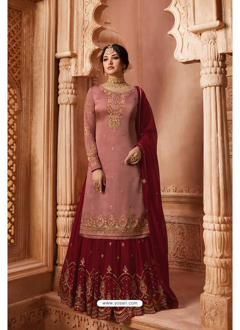 Old Rose Designer Party Wear Satin Georgette Palazzo Salwar Suit