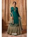 Teal Designer Party Wear Satin Georgette Palazzo Salwar Suit