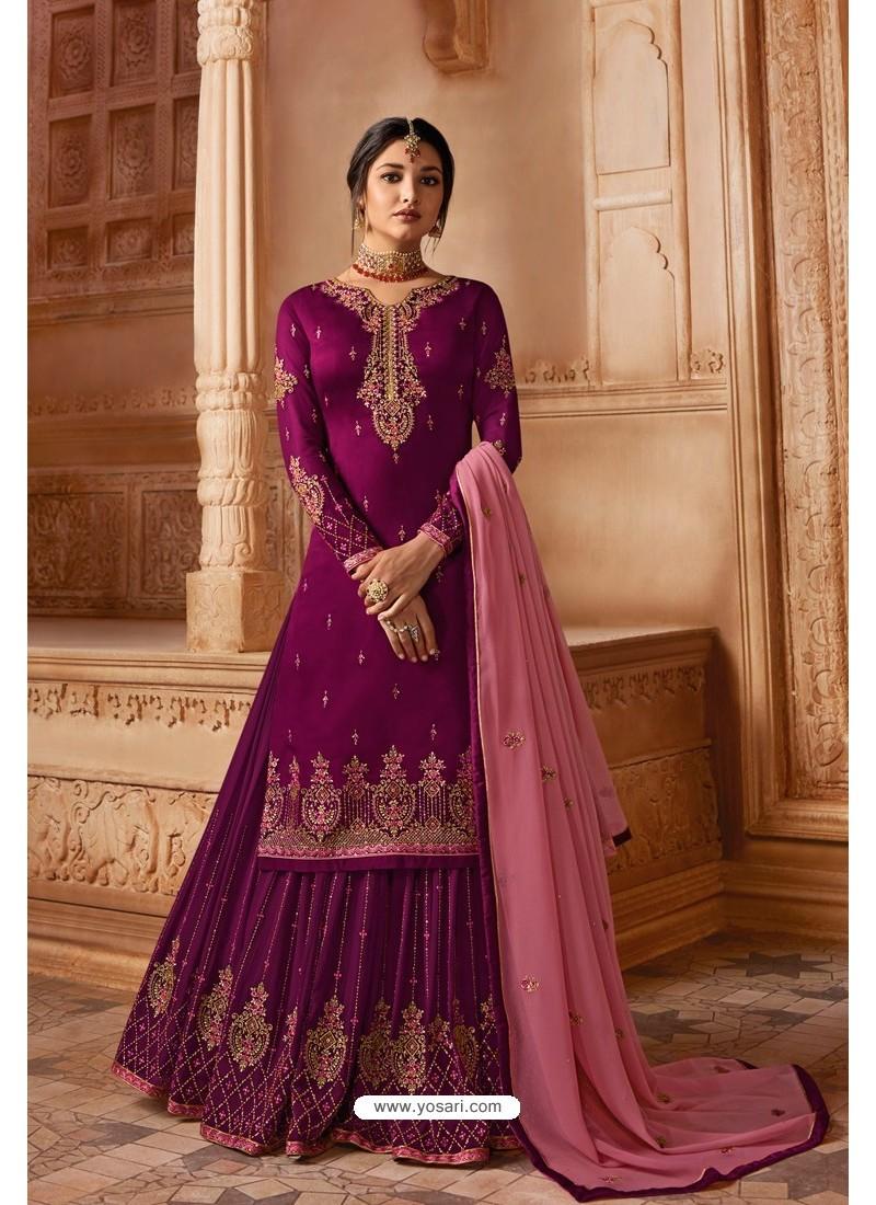 Medium Violet Designer Party Wear Satin Georgette Palazzo Salwar Suit