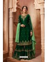 Dark Green Designer Party Wear Satin Georgette Palazzo Salwar Suit