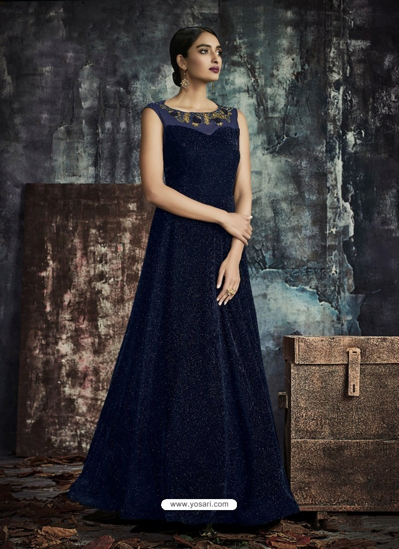 Navy Blue Designer Printed Readymade Party Wear Gown For Girls