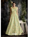 Sea Green Designer Printed Readymade Party Wear Gown For Girls