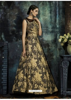 Light Brown Designer Printed Readymade Party Wear Gown For Girls