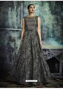 Grey Designer Printed Readymade Party Wear Gown For Girls