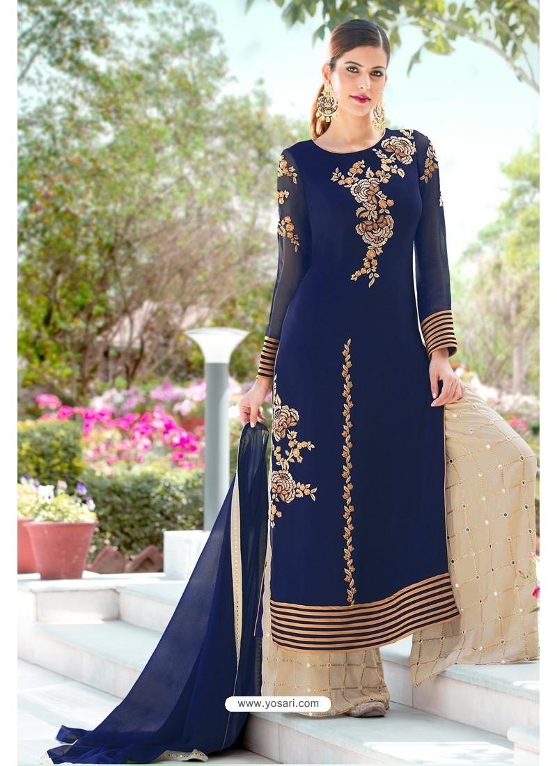 Navy Blue Designer Party Wear Georgette Palazzo Salwar Suit