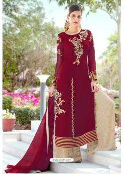 Wine Designer Party Wear Georgette Palazzo Salwar Suit