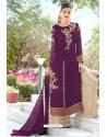 Purple Designer Party Wear Georgette Palazzo Salwar Suit