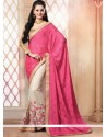 Pink And Cream Pure Chiffon Designer Saree
