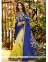 Blue And Yellow Satin Jacquard Designer Saree
