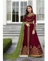 Rose Red Heavy Embroidered Georgette Designer Anarkali Suit