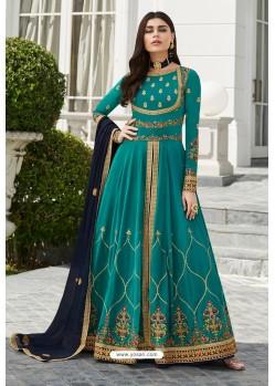 Turquoise Heavy Embroidered Georgette Designer Anarkali Suit