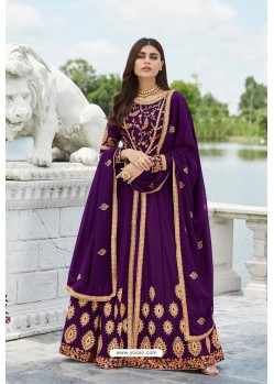Purple Heavy Embroidered Georgette Designer Anarkali Suit