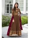 Camel Heavy Embroidered Georgette Designer Anarkali Suit