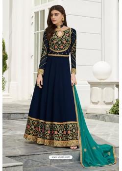Peacock Blue Heavy Embroidered Georgette Designer Anarkali Suit