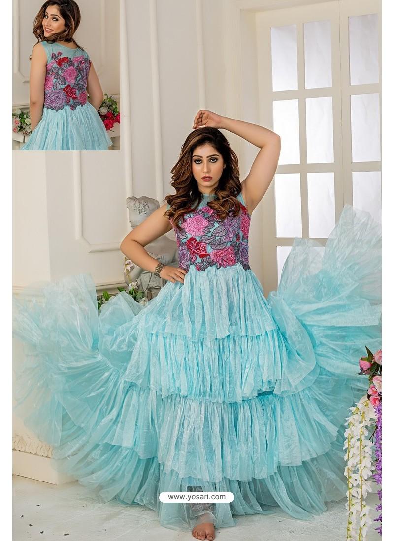 Sky Blue Soft Net Designer Party Wear Gown
