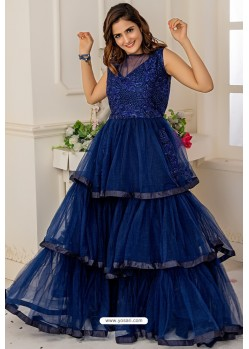 Navy Blue Soft Net Designer Party Wear Gown