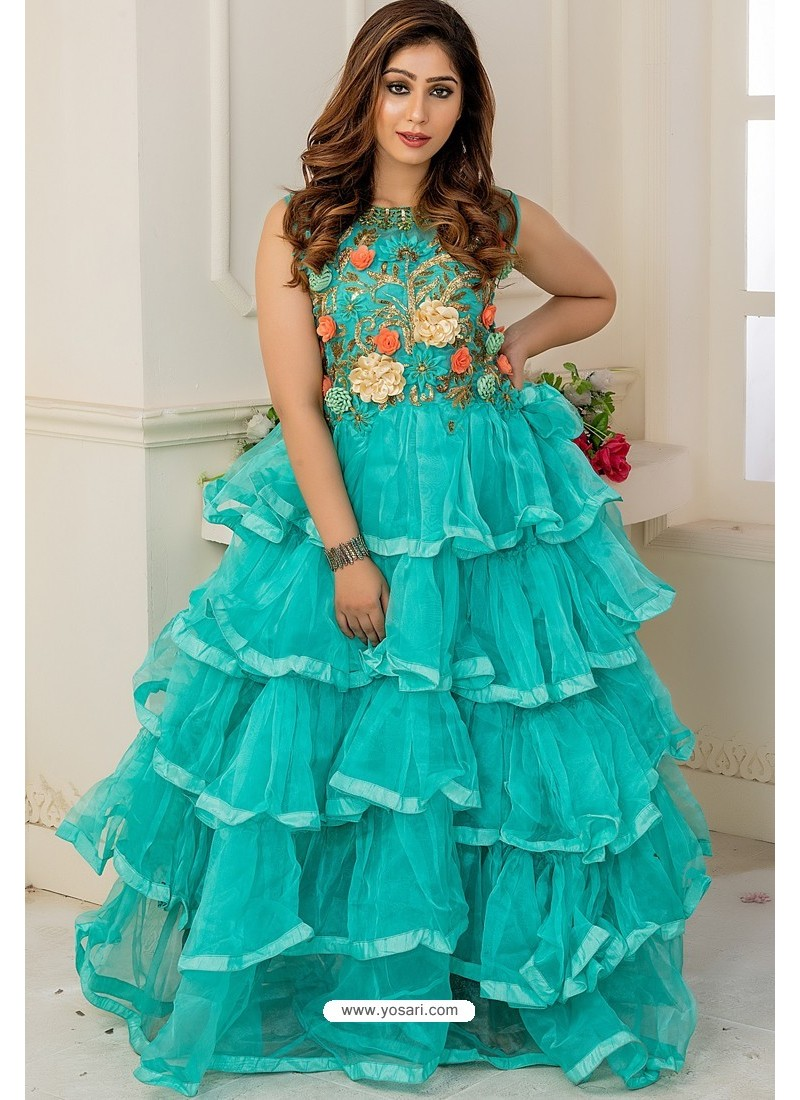 Turquoise Soft Net Designer Party Wear Gown