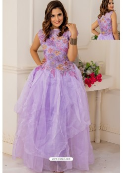 Mauve Soft Net Designer Party Wear Gown