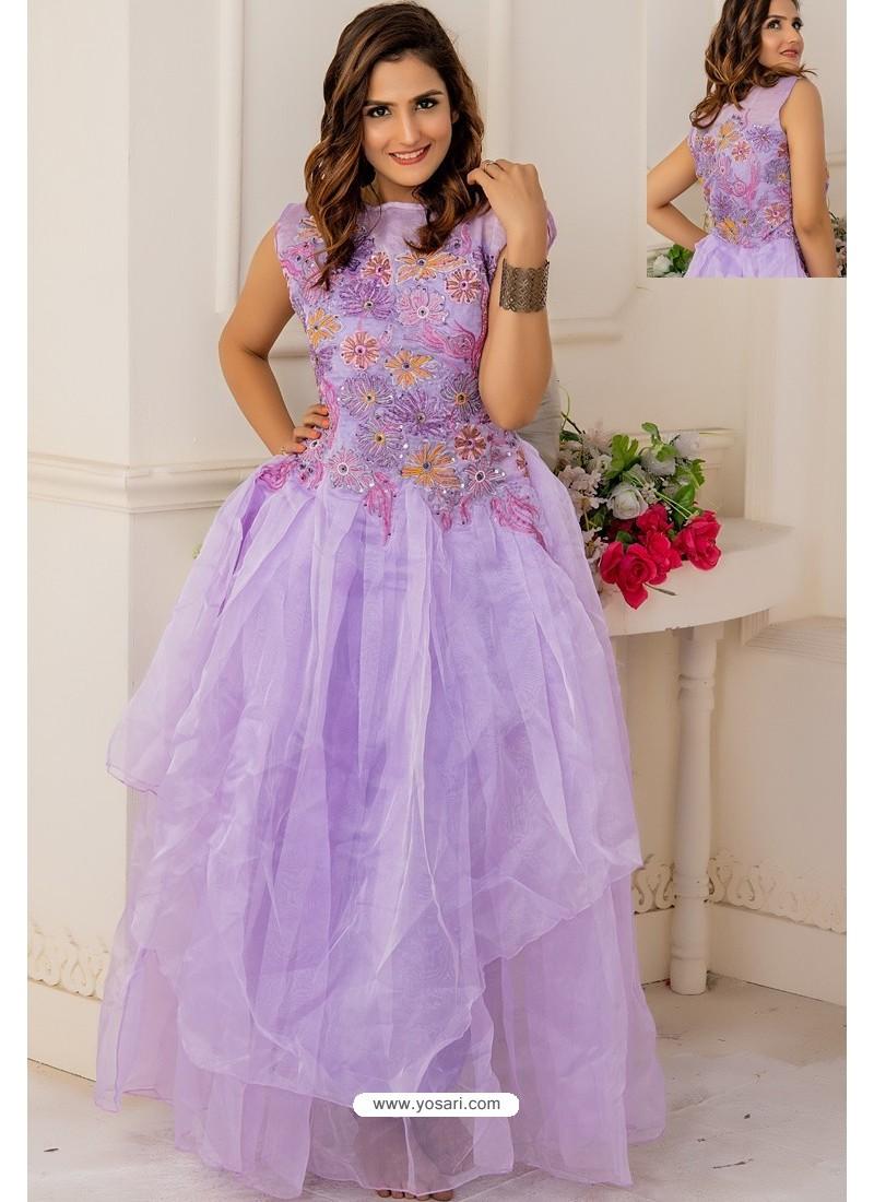 Mauve Soft Net Designer Party Wear Gown
