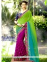 Staggering Georgette Green And Magenta Patch Border Work Half N Half Saree