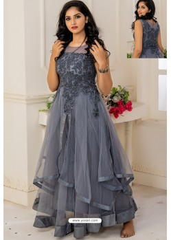 Grey Soft Net Designer Party Wear Gown
